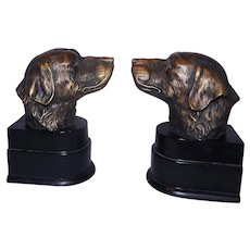 Vintage Solid Bronze Pair of Hunting Dog Bookends