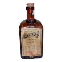 Vintage Empty Amber Cointreau Liqueur Bottle from Newfoundland Air Base