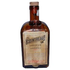 Vintage Empty Amber Cointreau Liqueur Bottle from Newfoundland Air Base