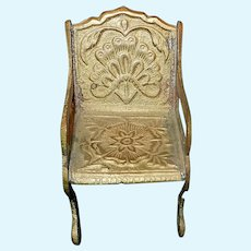 Vintage Miniature Brass Chairs with Floral Design
