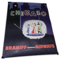 Original Mid-Century 4 Color Braniff International Airways Chicago Poster (1950's)