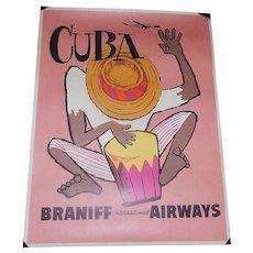 Original Mid-Century 4 Color Braniff International Airways Cuba Poster (1950's)
