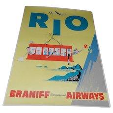 Original Mid-Century 4 Color Braniff International Airways Rio Poster (1950's)