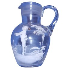 Vintage Mary Gregory Hand Blown and Painted Cruet or Syrup Pitcher