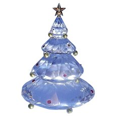 Vintage Swarovski Crystal Christmas Tree Figurine With Crystal Ornaments
