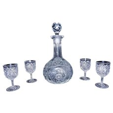 Vintage EAPG Flint Glass Decanter with 4 Matching Cordials
