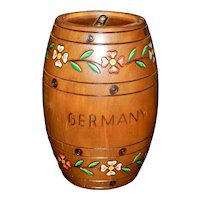 Vintage Wood Coin Bank Hand Painted in Germany