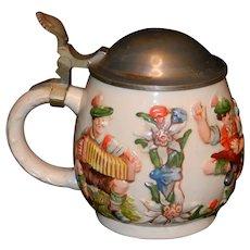 Vintage .5 Liters German Reinhold Merkelbach RM Pewter Lid Stoneware Stein w/ Flowers , Musicians & Dancers