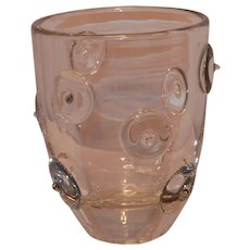 Vintage Crystal Art Glass Ice Bucket