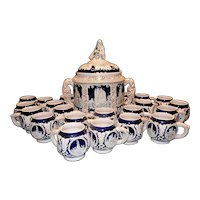 Vintage Thewalt German Stoneware Tureen / Punch Bowl –20 Cups and Glass Ladle