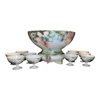 Vintage Heinrich & Co. Selb, Bavaria  Hand Painted Porcelain Punch Bowl with Base, Cups, Ladle