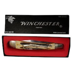 Winchester Trademark USA 1988 Stag 1950 Rifle Shield Banana Lockback Pocket Knife - NIB