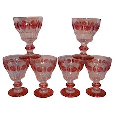 Vintage Indiana Glass Ruby Red Flashed Colony Classique Water Goblets