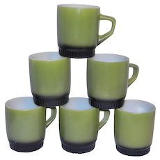 Vintage Mid-Century Anchor Hocking Fire King 8 Oz Coffee Mugs in Avocado Green Fade to Black Bottoms