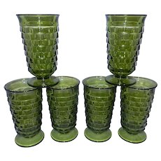 Vintage Mid-Century Whitehall Avocado Green Cubic Iced Tea Glasses by Colony