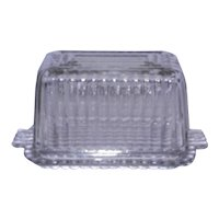 Vintage Clear One Pound Covered Ribbed Glass Butter Dish