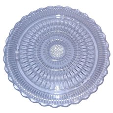 "Vintage 3 Footed 12 3/8"" Scalloped Edge Cake Plate"