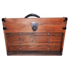 Vintage Wood Oak Machinists, Architectural or Drafting 7 Drawer Tool Chest