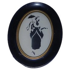 Vintage Reversed Victorian Lady Silhouette made from Thread Framed Picture