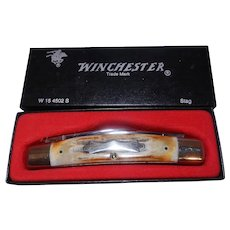 Vintage NIB Winchester 4 Blade 4502 Congress Knife with Genuine Stag Handles