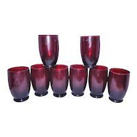 Vintage Anchor Hocking Royal Ruby Footed Glass Tumblers