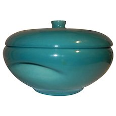Vintage 2 Qt. Iroquois Casual Turquoise/Aqua Covered Casserole with Knob Lid