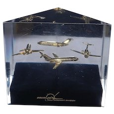 Vintage Presentation Paperweight The McDonnell Douglas MD-80 Twin-Engine Passenger Aircraft