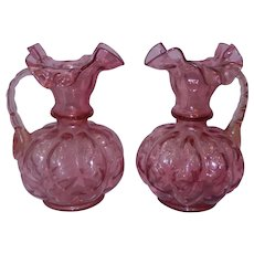 Vintage Fenton Ruffled Cranberry Melon Vases with Handle