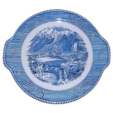 Vintage Currier and Ives Royal China Blue Rocky Mountains Tab Handled Cake Plate