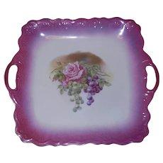 Antique Handled PM Bavaria Porcelain Square Plate Raised Wreath
