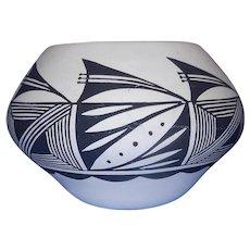 Vintage Acoma Pueblo Black and White Bowl