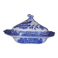 Vintage Blue Willow China Lidded Serving Dish or Vegetable Dish by Britannia Pottery Great Britain