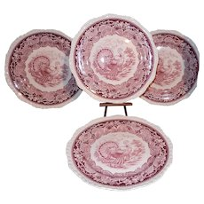 Vintage Mason's Vista Ironstone China England Pink Transferware Turkey Plates