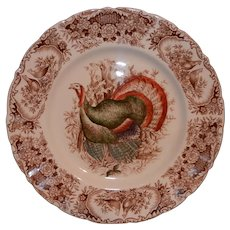 Vintage Johnson Brothers Wild Turkeys Brown (Native American) Dinner Plate