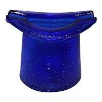 Vintage Cobalt Blue Depression Style Glass Top Hat Ashtray