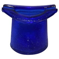 Vintage Cobalt Blue Depression Style Glass Top Hat Ashtray