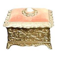Vintage Ormolu Cameo Musical Footed Trinket Box Made in Japan