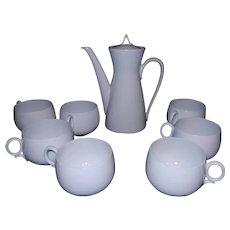 Vintage J & C Bavaria Tea Set circa 1920's with Rosenthal Classic Modern White Continental Pattern Teapot