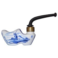 Vintage Blue Delft Pocket Shoe Pipe from Holland