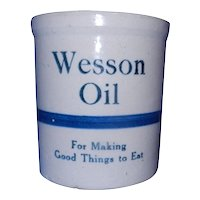 Vintage Wesson Oil Blue Striped Stoneware Crock