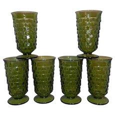 Vintage Whitehall Avocado Green Cubic Ice Tea Glasses