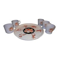 Vintage Mid-Century Esso/Exxon Tin Lithograph Round Metal Tiger Tray with Mugs