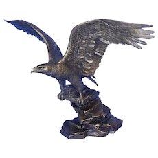 Vintage 1990 Poised For Glory Signed Ronald Van Ruyckevelt Bronze Eagle