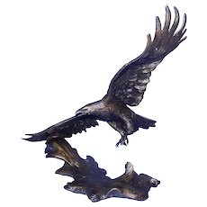 Vintage 1990 Winged Majesty Signed Ronald Van Ruyckevelt Bronze Eagle