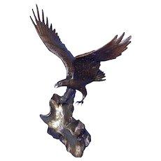 Vintage 1990 Wings of Glory Signed Ronald Van Ruyckevelt Bronze Eagle