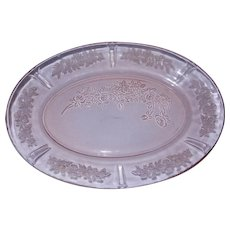 "1935 Vintage Pink Depression Glass Sharon Cabbage Rose 12"" Oval Platter"