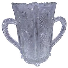 Vintage Bryce Higbee Thistle and Fan Two Handled Spooner or Celery Vase with Bee Mark circa 1910