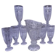 Vintage Leaded Crystal Ice Tea Glasses and Pitcher