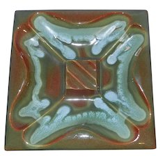Vintage RED WING Pottery Large Glazed Divided Square Ashtray or Nut Bowl