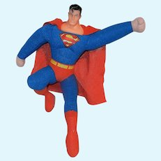 Vintage DC Comics Superman Man of Steel Plush Tall Kelly Toy Doll Vinyl Head Flying Stance